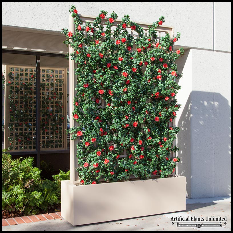 6 39 L Azalea Trellis Artificial Outdoor Space Divider In Fiberglass Planter
