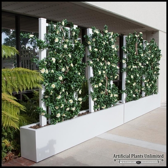Growing Trellis Space Dividers in Fiberglass Planters