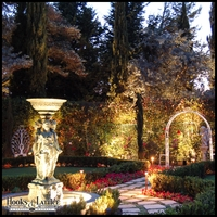 Backyard with Wishing Well Landscape Lighting Kit