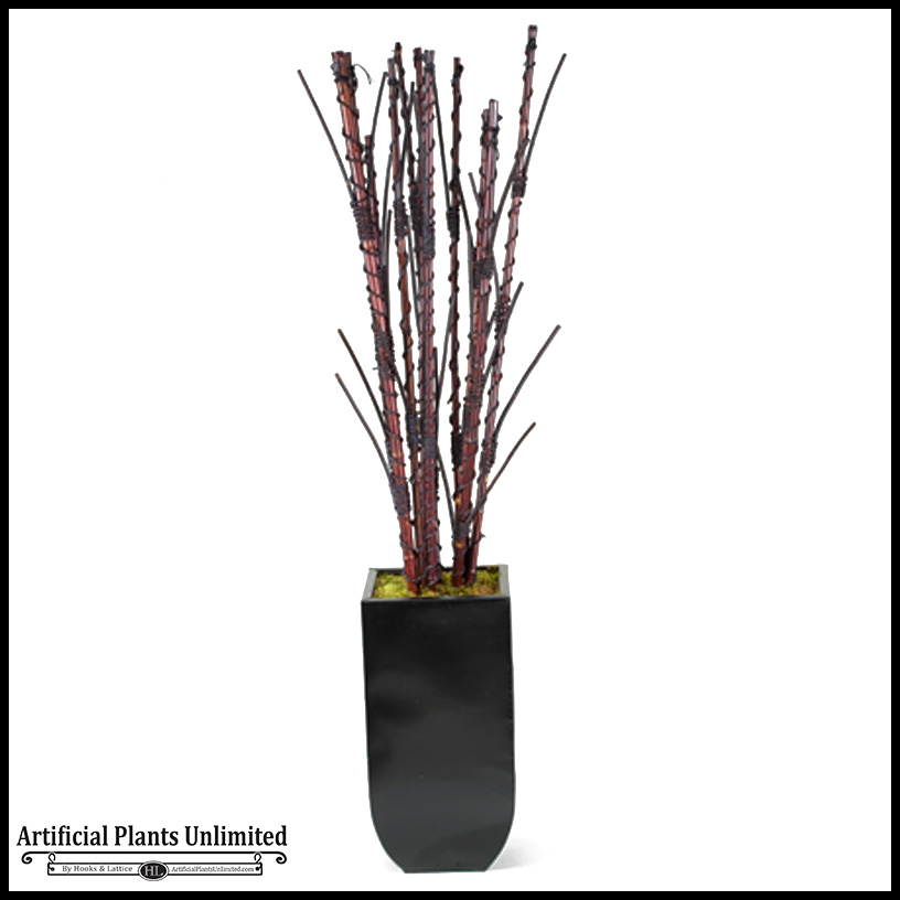 bamboo and willow branches in tall square metal planter 7u0027