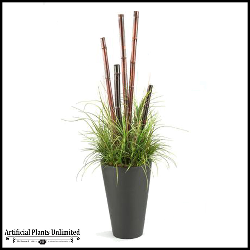 Tall Bamboo Sticks ~ Bamboo poles and grasses in tall resin planter