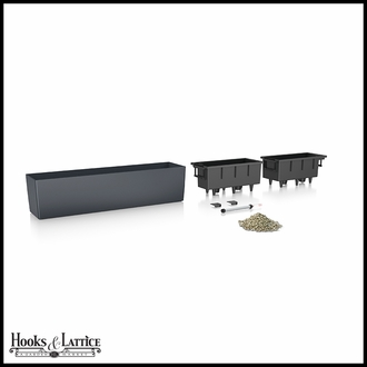Basswood Self-Watering Window Box Planter - Slate