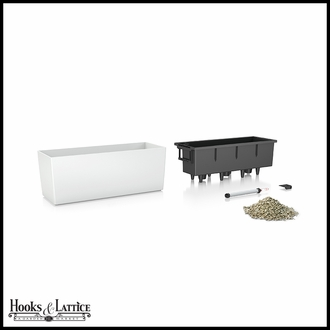 Basswood Self-Watering Window Box Planter - White