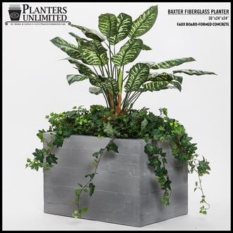 Baxter Fiberglass Tapered Rectangular Planter 60in.L x 18in.W x 24in.H