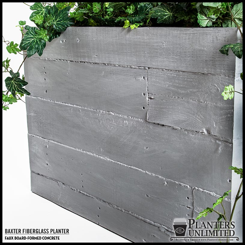 Faux board formed concrete outdoor planters planters unlimited Concrete planters