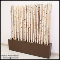 5'L x 6'H Birch Pole Screen in Modern Fiberglass Planter