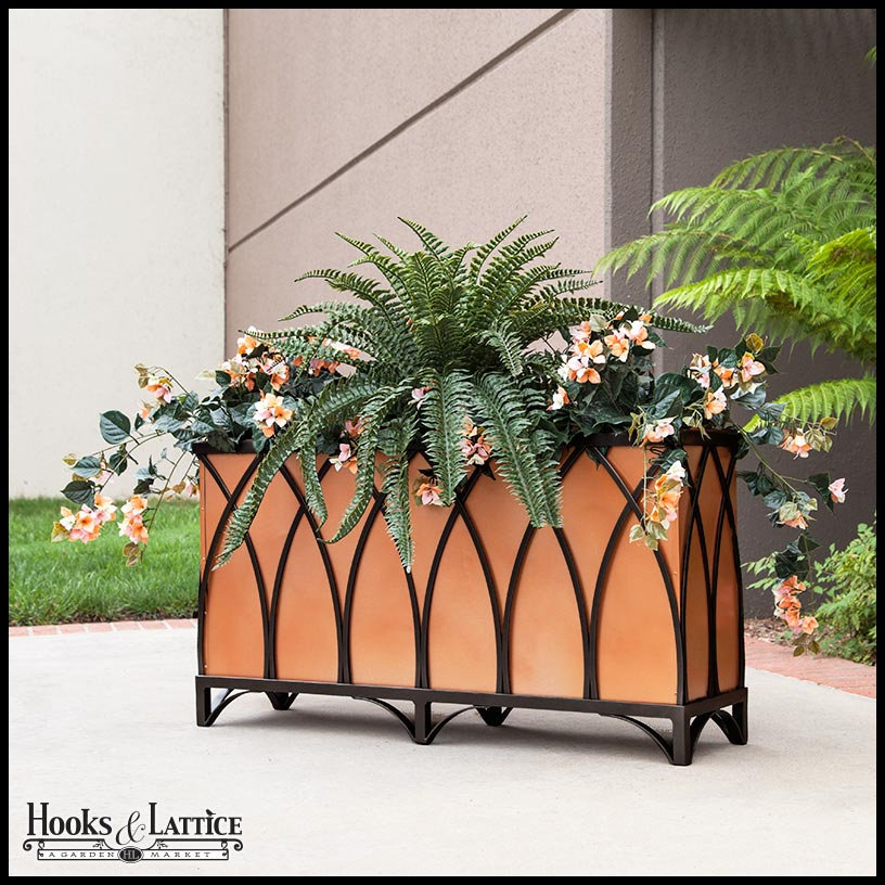 Wrought Iron Rectangular Patio Planters Hooks Lattice
