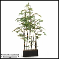 7' Black Bamboo Screen in Rectangle Planter