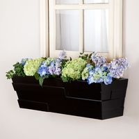26in. Black Brickton Fiberglass Window Box