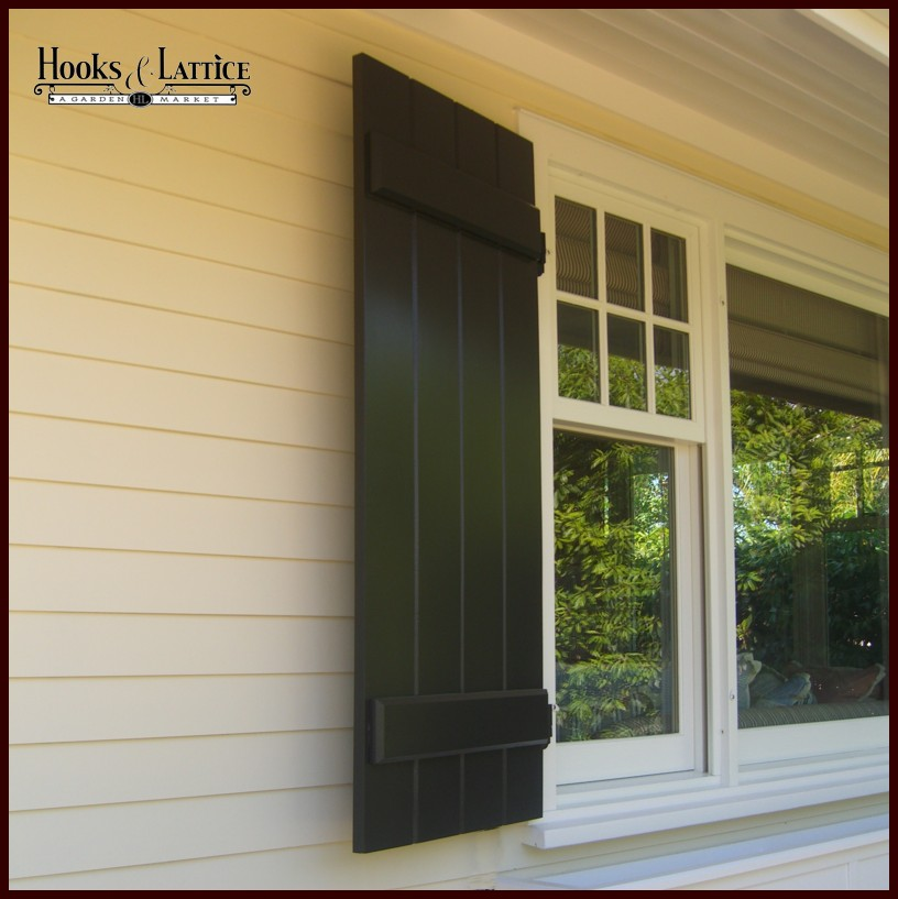 Board and batten shutters exterior shutter panels hooks for Window shutters