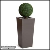 Boxwood Topiary Sphere in Modern Tapered Planter 59inH, Outdoor Rated