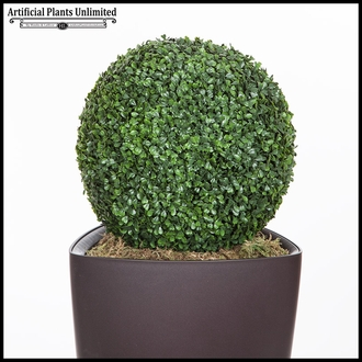 "Boxwood Topiary Sphere in Delta Triangle Planter 45"", Outdoor Rated"