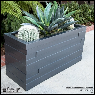 Brockton Rectangular Fiberglass Planter 72in.L x 24in.W x 24in.H
