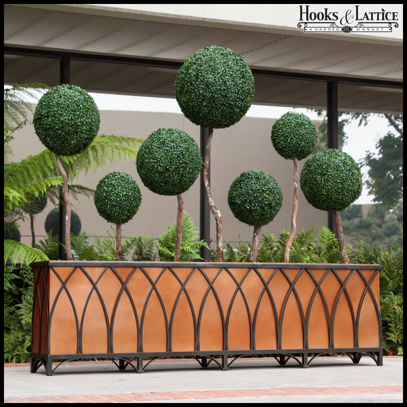 Bronze Arch Cage Wrought Iron Planter Click To Enlarge