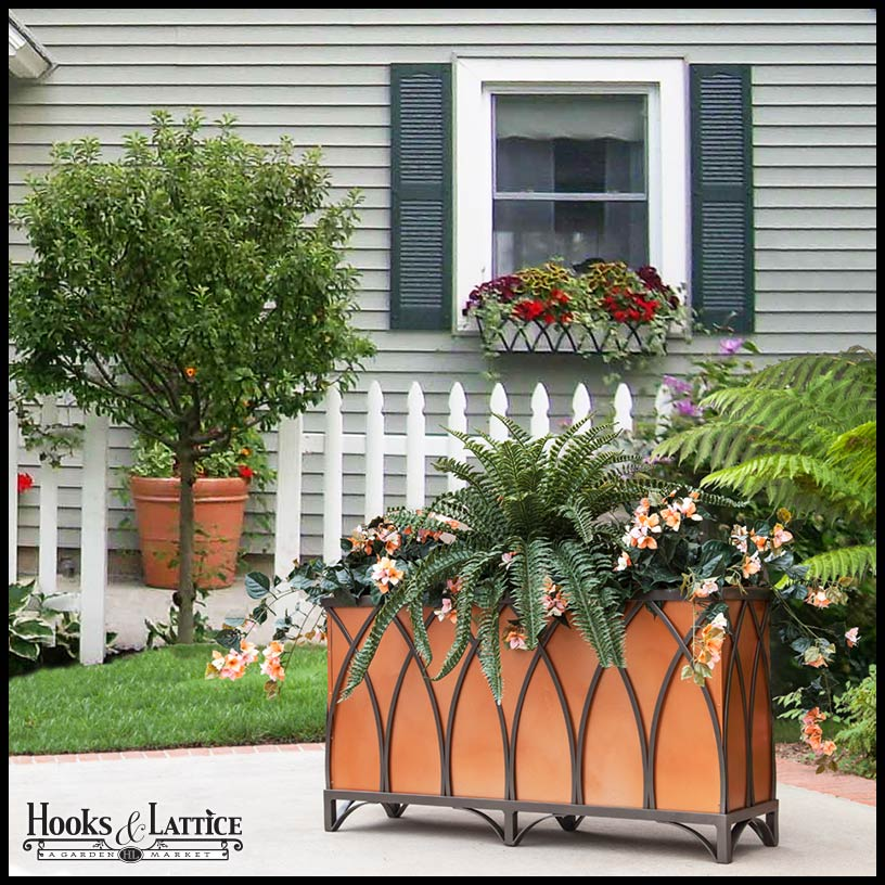 Veian Tapered Iron Railing Planters With White Vinyl Liners