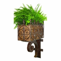 Brown Taupe Iron Wall Planter With Removable Liner