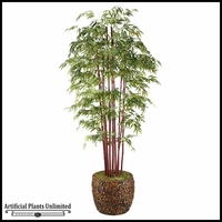 9' Burgundy Bamboo Tree in Banana Leaf Basket