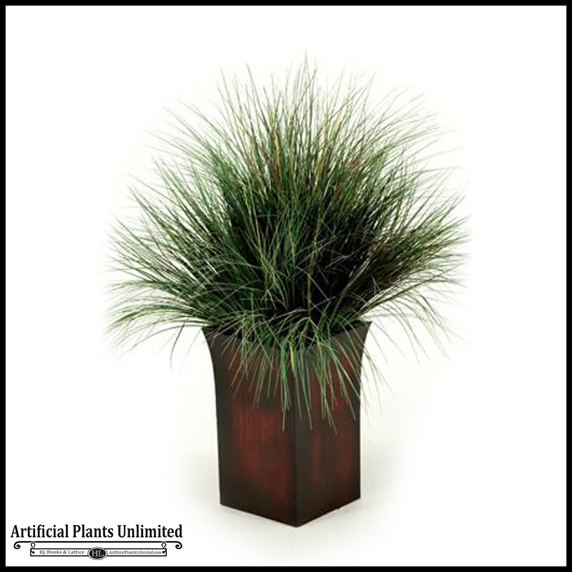 42in Burgundy Green Onion Grass In Tall Square Metal Planter
