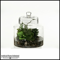 10in. Butterfly Succulent and Easter Grass in Glass Jar with Lid