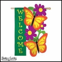 "Butterfly Welcome Flag for Garden - 18""x12.5"""
