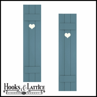 """Painted Cedar Board and Batten Shutters -15"""" Wide with 3 Boards and Cut-Out Design"""