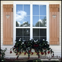 "Cedar Board and Batten Shutters -15"" Wide with 4 Boards and Cut-Out Design"