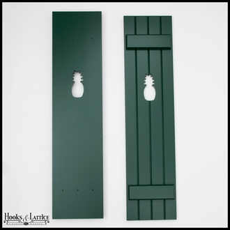 "Painted Cedar Board and Batten Shutters -18"" Wide with 4 Boards and Cut-Out Design"