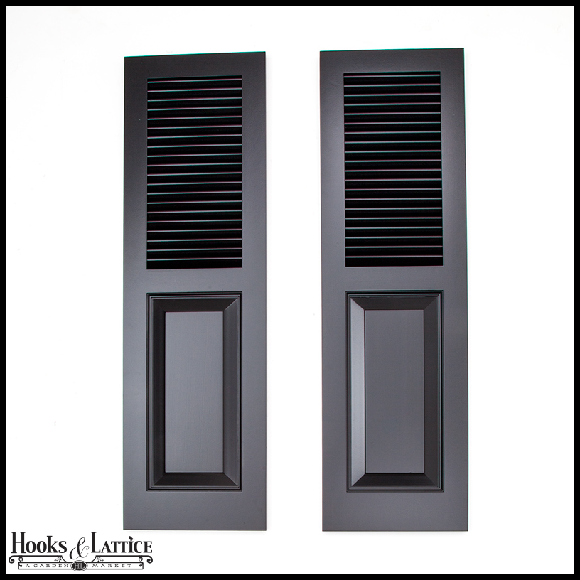 Cedar combination exterior shutters by hooks lattice for Exterior louvered window shutters