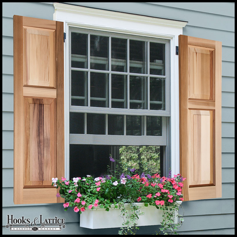 Cedar shutters wood raised panel shutters custom sizes for Wood doors and shutters