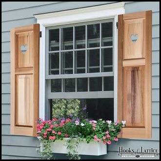 Cedar Two Unequal Panel Design -12in. Wide with Cut-Out Design Exterior Shutter Pair