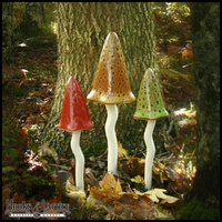 Ceramic Garden Mushrooms - Fall Fairy Garden Decor