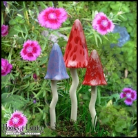 Ceramic Garden Mushrooms - Spring Fairy Garden Decor