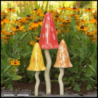 Ceramic Garden Mushrooms - Summer Fairy Garden Decor