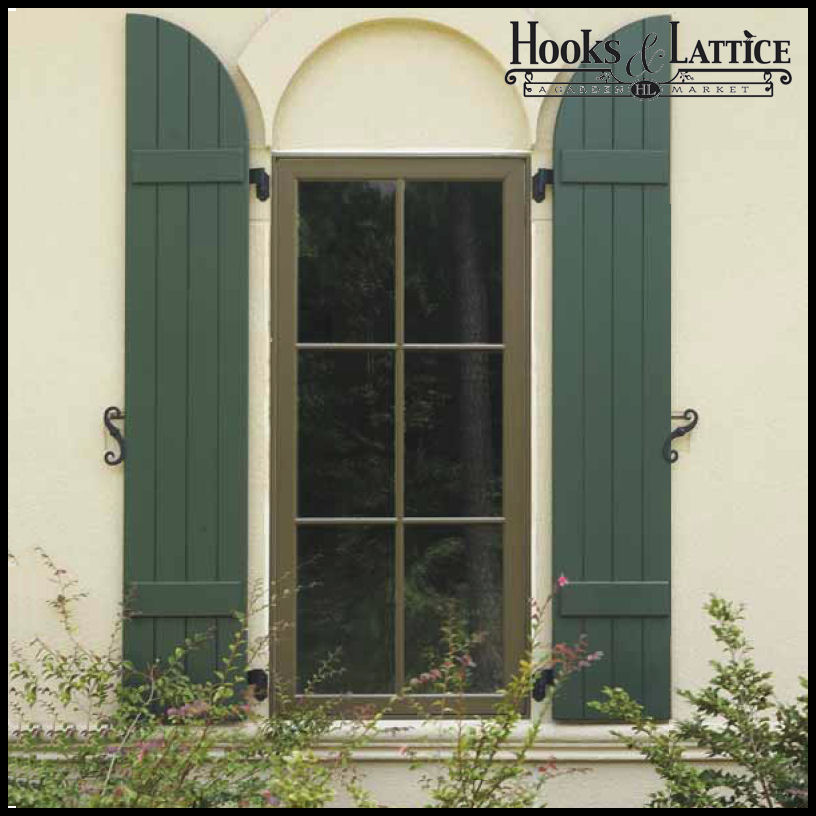 Beautiful Classic Composite Board & Batten Shutters - Hooks & Lattice