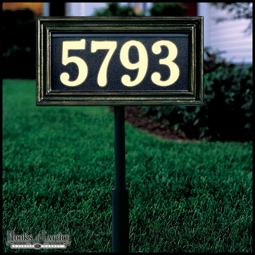 Custom address plaques with backlit numbers hooks lattice for Classic house number plaque