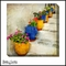 Colorful Clay Pots on Stairs - Canvas Artwork