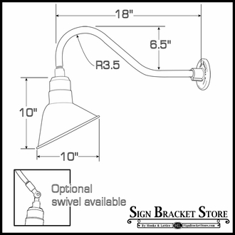 """Compact Fluorescent Gooseneck Light 18""""L x 1/2"""" Dia. Arm with 10"""" Angle Shade"""