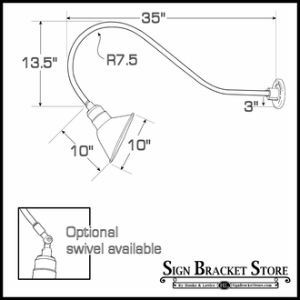 """Compact Fluorescent Gooseneck Light 35""""L x 1/2"""" Dia. Arm with a 10"""" Angle Shade"""