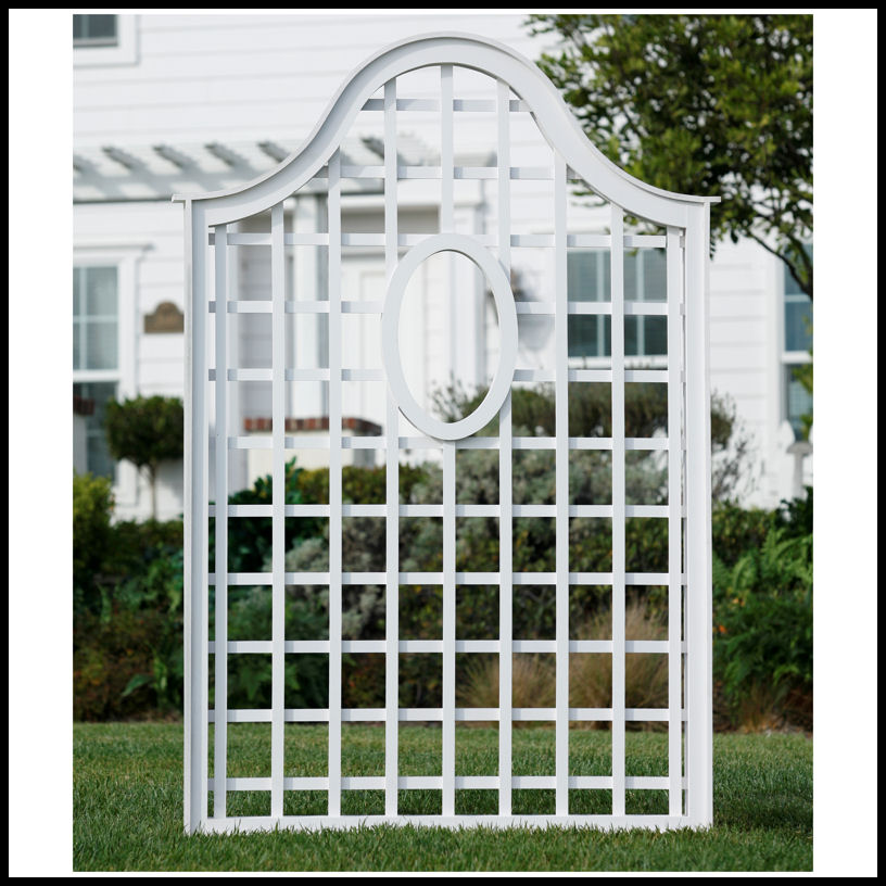 Composite pvc trellises white trellises and garden screens for Outdoor lattice