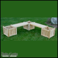 Corner Bench Planter System w/ Three 24in. Cube Planters