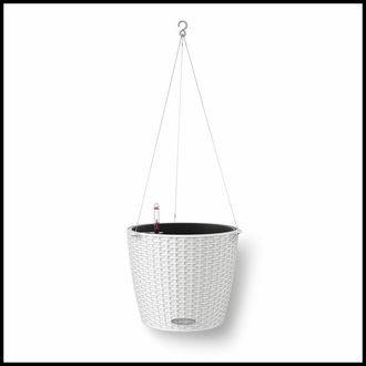 Cottage Weave Self-Watering Hanging Basket w/ Stainless Steel Hanger