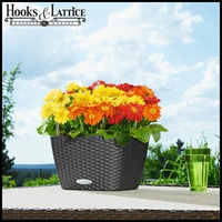Cottage Weave Self-Watering Table Top Planter - 12in.Sq. x 7in.H