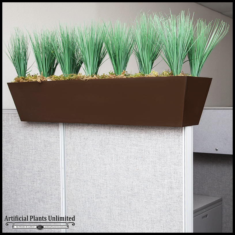 Faux grass cubicle privacy screen artificial plants for Privacy wall planter