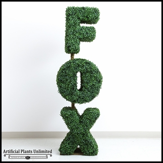 4'H x 18in. SQ Custom Logo or Figure Boxwood Topiary Shape, Outdoor Rated