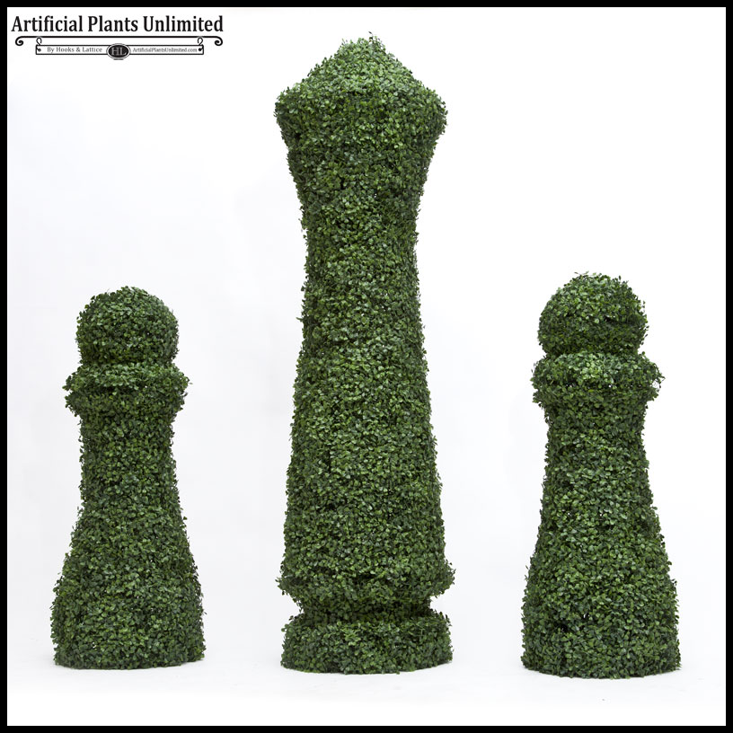 4'h x 18in. sq custom logo or figure boxwood topiary shape, outdoor Artificial Shrubs and Plants