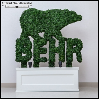3'H x 6in.W Custom Logo or Letter Boxwood Topiary Shape, Outdoor Rated