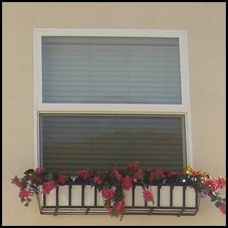Custom Venetian Window Box with Faux Bougainvillea