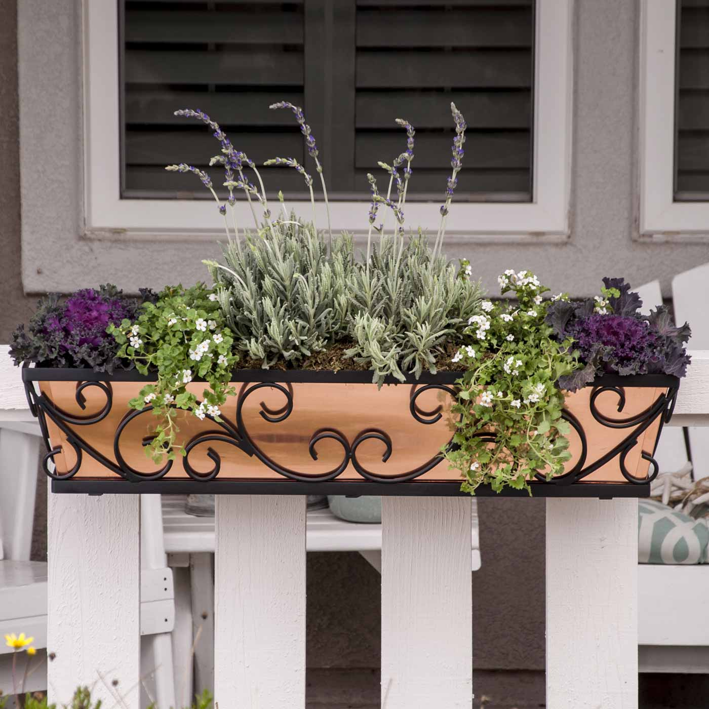 Planters For Railings Hooks: Decora Wrought Iron Flower Boxes
