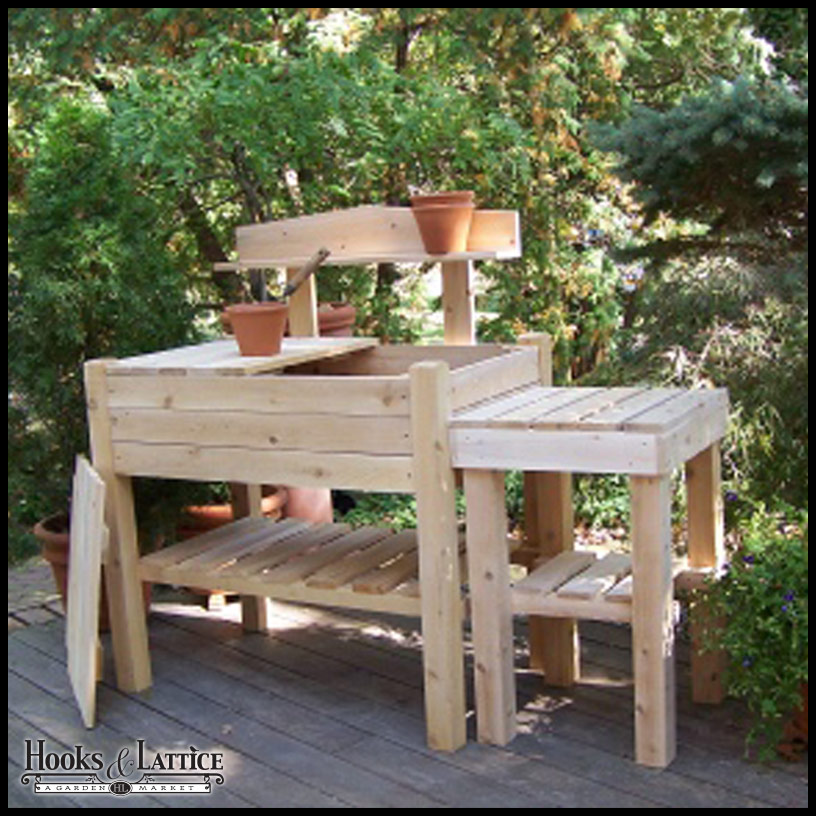 Two Piece Cedar Potting Bench W Side Table