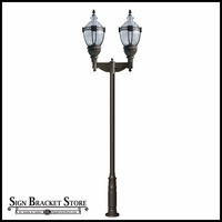 Double Arm High Output Vintage Design Lamp Post with Clear Top - 120v - Cast Aluminum Light Fixture